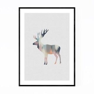 Noir Gallery Pastel Abstract Deer Buck Animal Framed Art Print