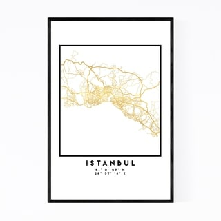 Noir Gallery Minimal Istanbul City Map Framed Art Print