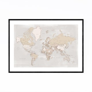 Noir Gallery Rustic Vintage World Map Framed Art Print