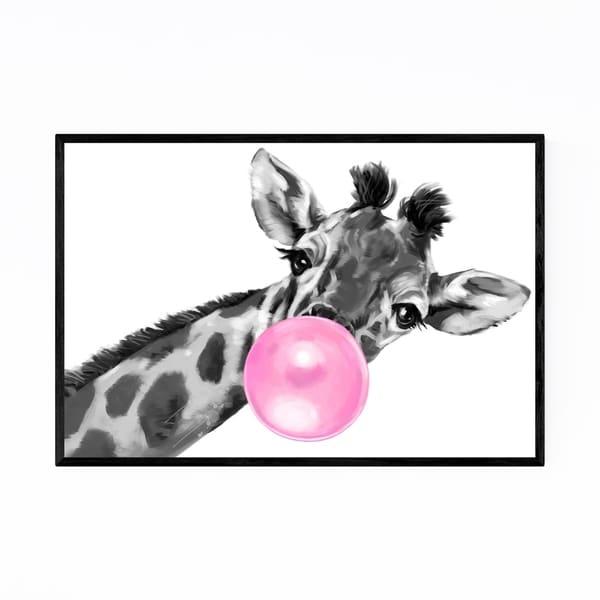 Noir Gallery Pink Giraffe Peekaboo Animal Framed Art Print