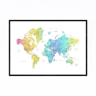 Noir Gallery Rainbow Watercolor World Map Framed Art Print