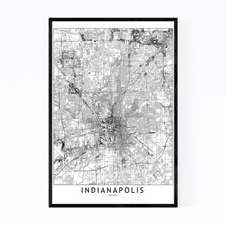 Noir Gallery Indianapolis City Map Framed Art Print