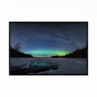 Noir Gallery Aurora Borealis Milky Way Lake Framed Art Print