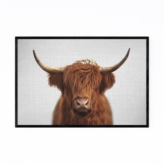 Noir Gallery Highland Cow Peeking Animal Framed Art Print