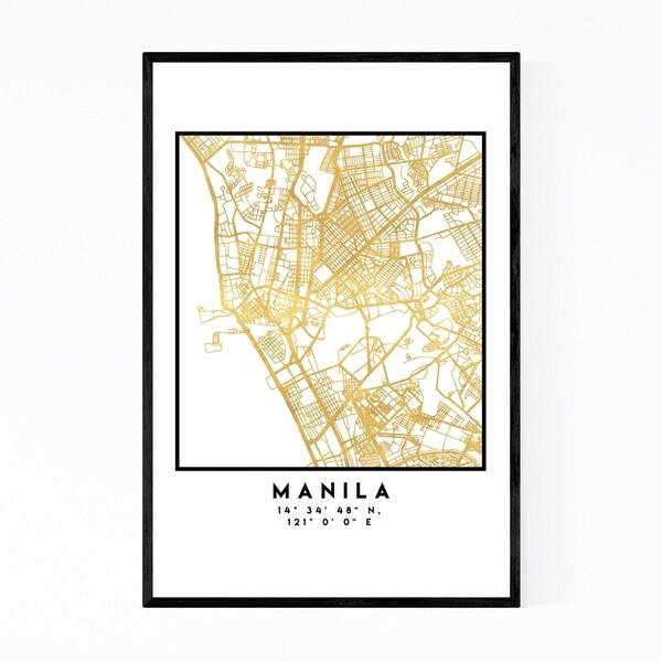Noir Gallery Minimal Manila City Map Framed Art Print