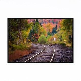 Noir Gallery Autumn Railroad Train Track Framed Art Print
