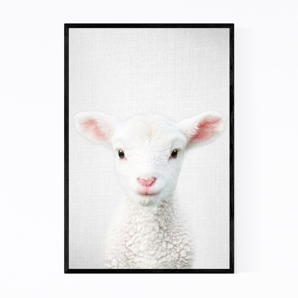 Noir Gallery Cute Lamb Peeking Nursery Animal Framed Art Print