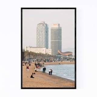 Noir Gallery Barcelona Spain Beach Landscape Framed Art Print