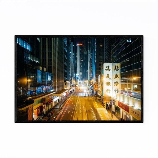 Noir Gallery Hong Kong Night Cityscape Urban Framed Art Print