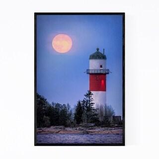 Noir Gallery Umeå Sweden Lighthouse Moon Framed Art Print