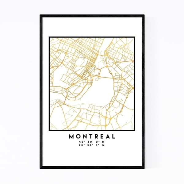 Noir Gallery Minimal Montreal City Map Framed Art Print