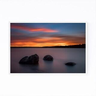 Noir Gallery Sweden River Sunset Landscape Framed Art Print