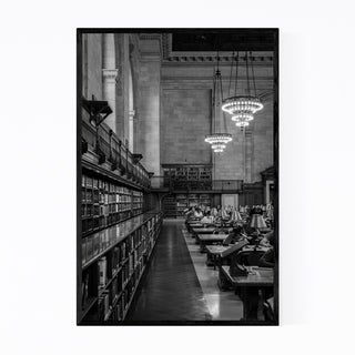 Noir Gallery Black & White New York Library Framed Art Print