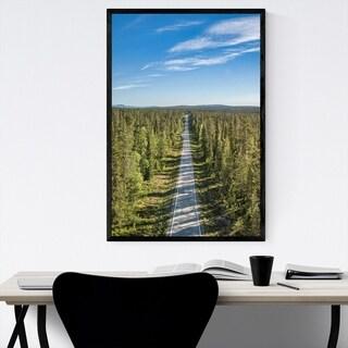 Noir Gallery Aerial Forest Road Landscape Framed Art Print