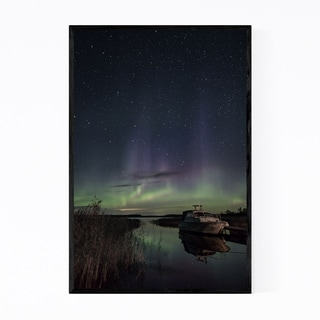 Noir Gallery Northern Lights Finland Aurora Framed Art Print