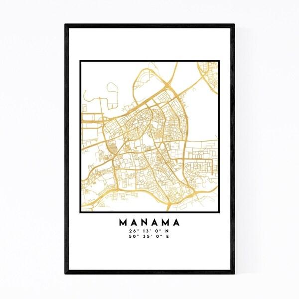 Noir Gallery Minimal Manama City Map Framed Art Print