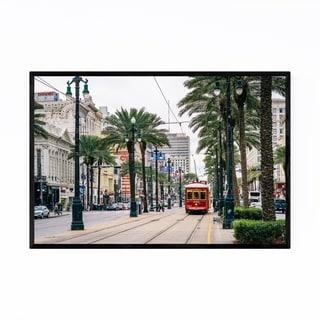 Noir Gallery Red Streetcar in New Orleans Framed Art Print