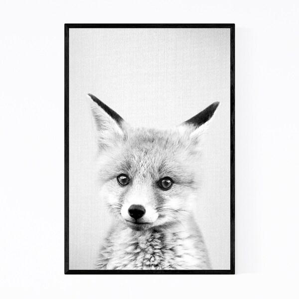 Noir Gallery Cute Baby Fox Peekaboo Animal Framed Art Print