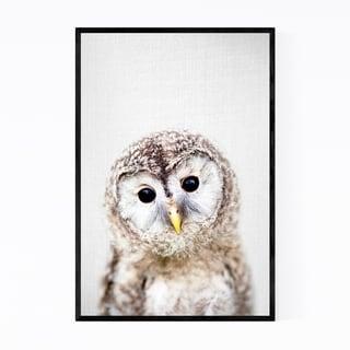 Noir Gallery Baby Owl Peekaboo Nursery Animal Framed Art Print