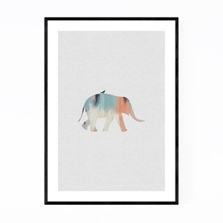 Noir Gallery Pastel Elephant Bird Animal Framed Art Print