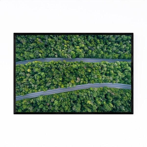 Noir Gallery Aerial Trees Forest Roads Nature Framed Art Print