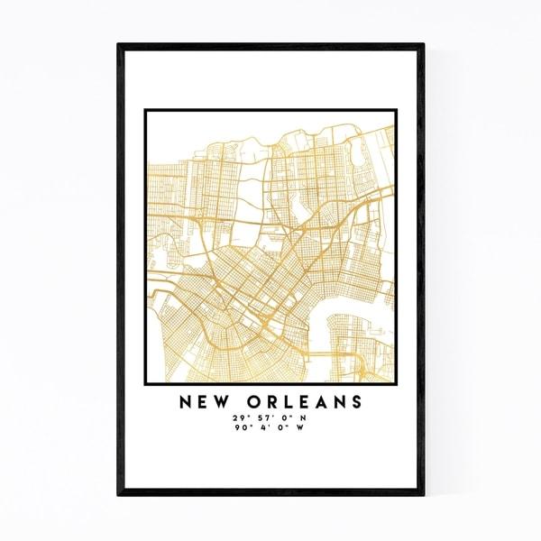 Noir Gallery Minimal New Orleans City Map Framed Art Print