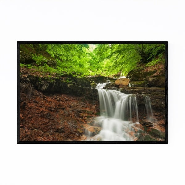 Noir Gallery Bulgaria Spring Forest Waterfall Framed Art Print
