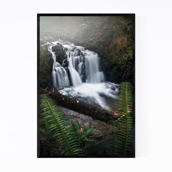 Noir Gallery Ecola Falls Waterfall Oregon Framed Art Print