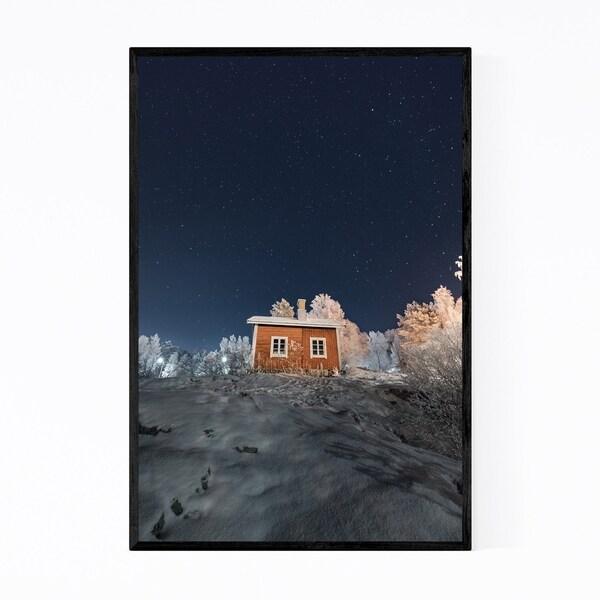 Noir Gallery Winter Night Starry Sky Finland Framed Art Print