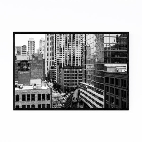 Noir Gallery Chicago River North L Train Framed Art Print