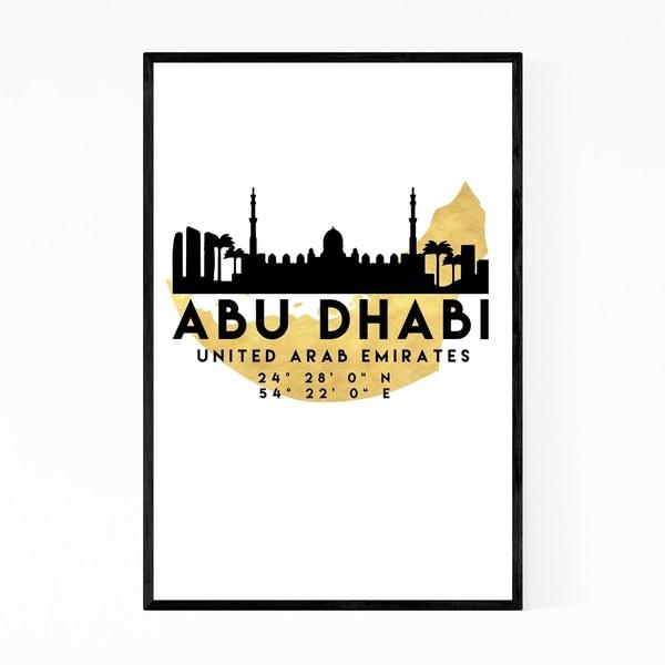 Noir Gallery Minimal Abu Dhabi Skyline Framed Art Print