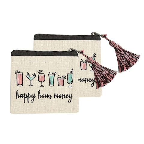 Happy Hour Money Coin Pounches, Set of 2