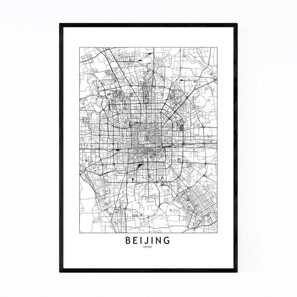 Noir Gallery Beijing Black & White City Map Framed Art Print