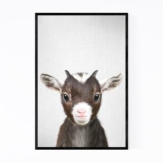 Noir Gallery Cute Baby Goat Peekaboo Animal Framed Art Print