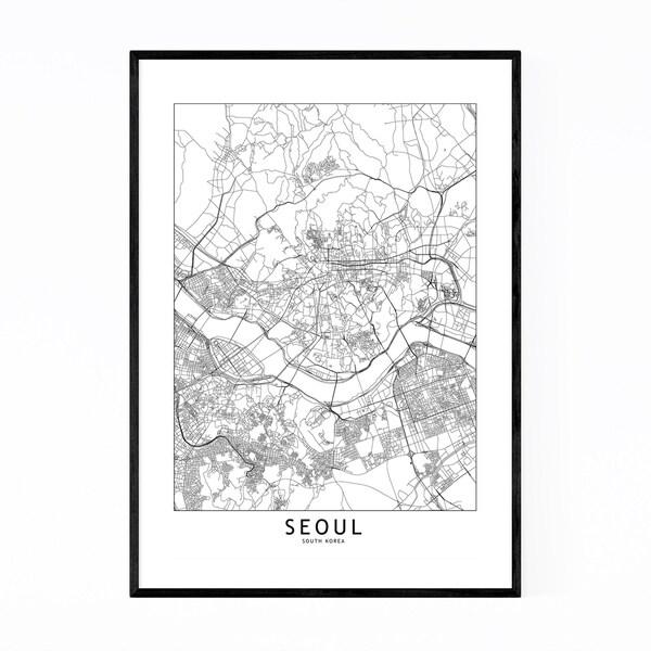 Noir Gallery Seoul Black & White City Map Framed Art Print