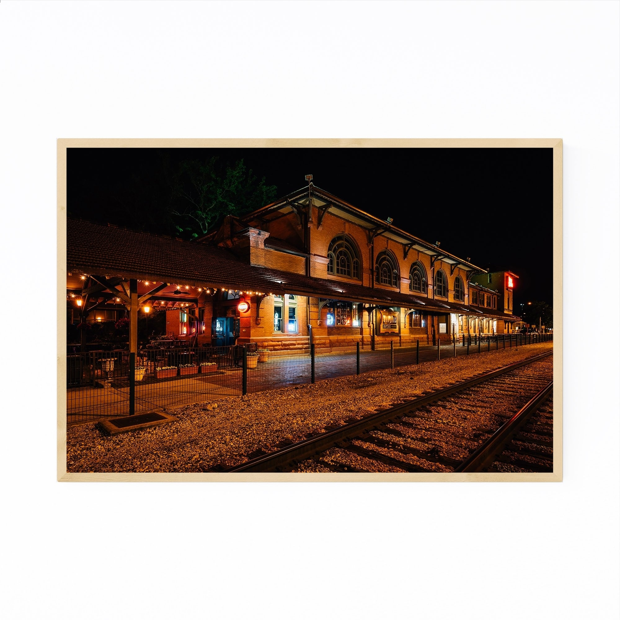 Shop Noir Gallery Peoria Illinois Train Station Framed Art Print