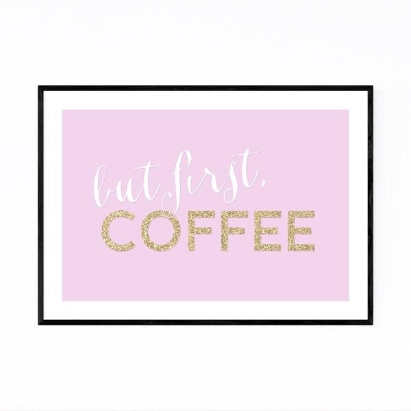 Noir Gallery Pink Coffee Kitchen Typography Framed Art Print