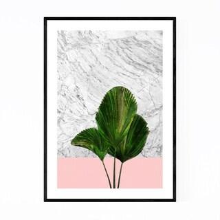 Noir Gallery Minimal Palm Plant Marble & Pink Framed Art Print