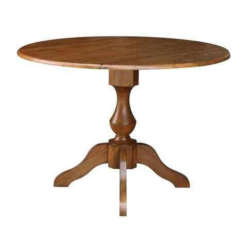 "42"" Round Dual Drop Leaf Pedestal Table - Pecan"