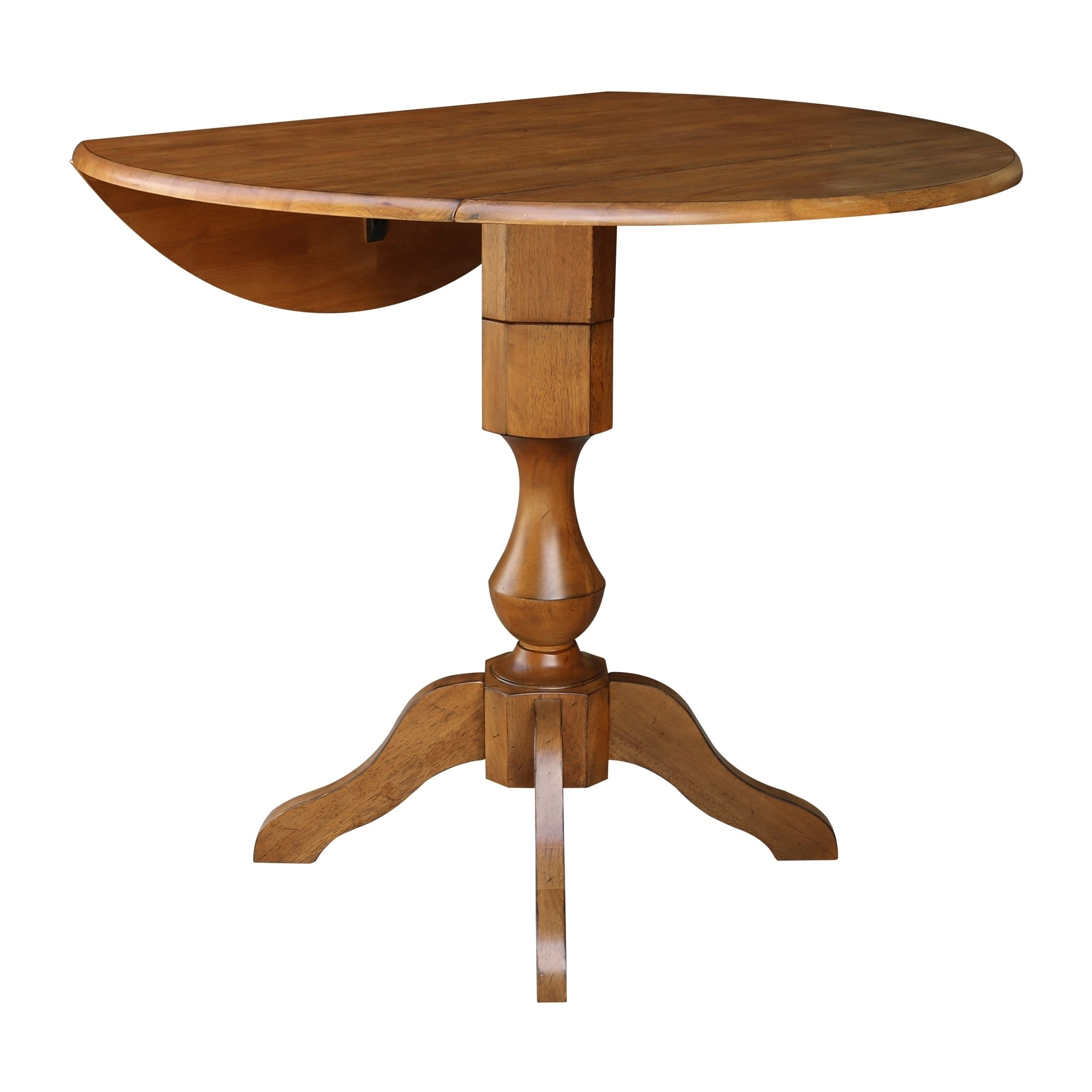 42 Round Dual Drop Leaf Pedestal Table Pecan Overstock 27459825
