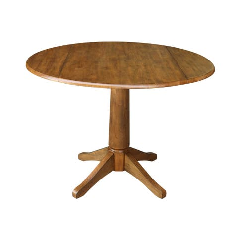 "42"" Round Dual Drop Leaf Table - Pecan"
