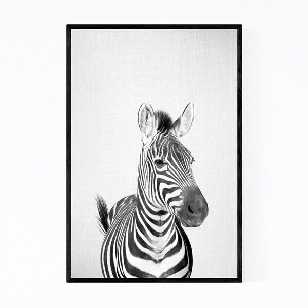 Noir Gallery Zebra Nursery Peeking Animal Framed Art Print