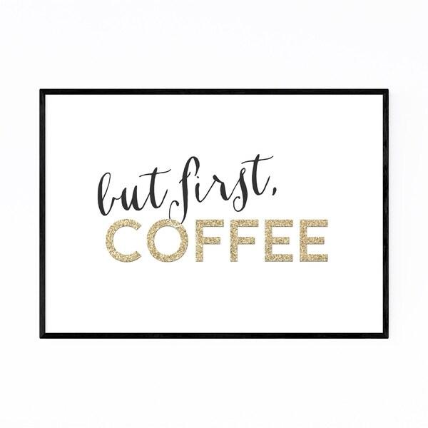 Noir Gallery Gold Coffee Kitchen Typography Framed Art Print