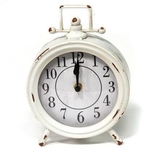 Porch & Den Olin Vintage White Metal Table Clock - N/A