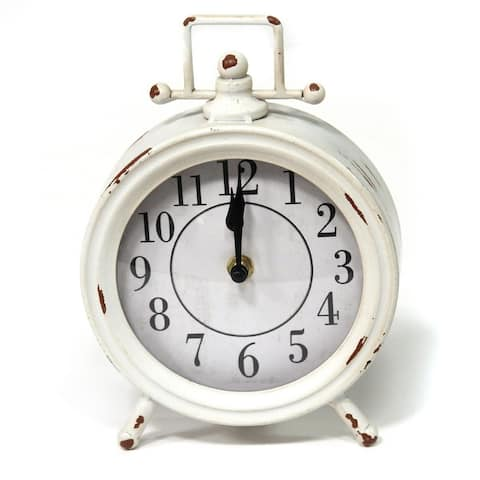 Porch & Den Olin Vintage White Metal Table Clock