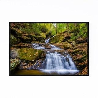 Noir Gallery Autumn Fall Waterfall in Forest Framed Art Print