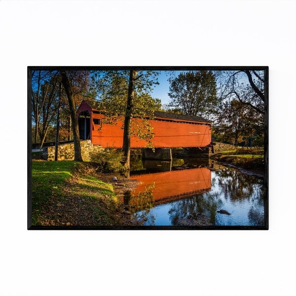 Noir Gallery Red Covered Bridge Maryland Framed Art Print