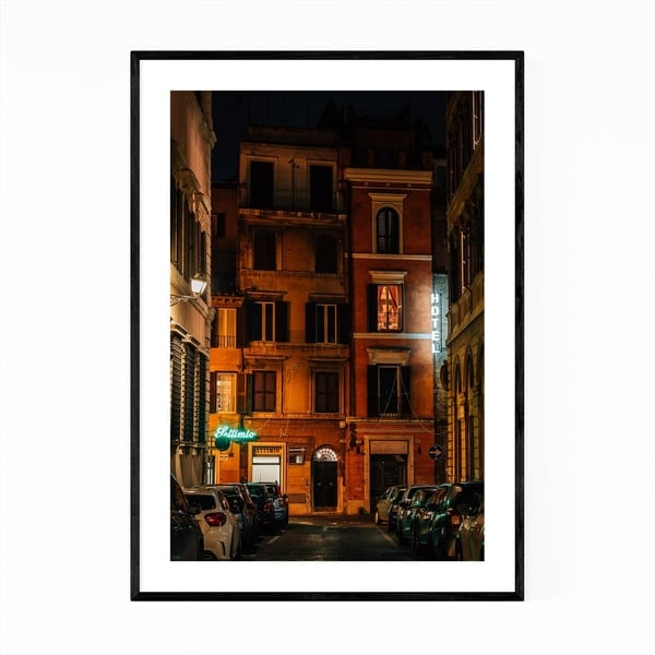 Noir Gallery Rome Italy Hotel Neon Sign Framed Art Print