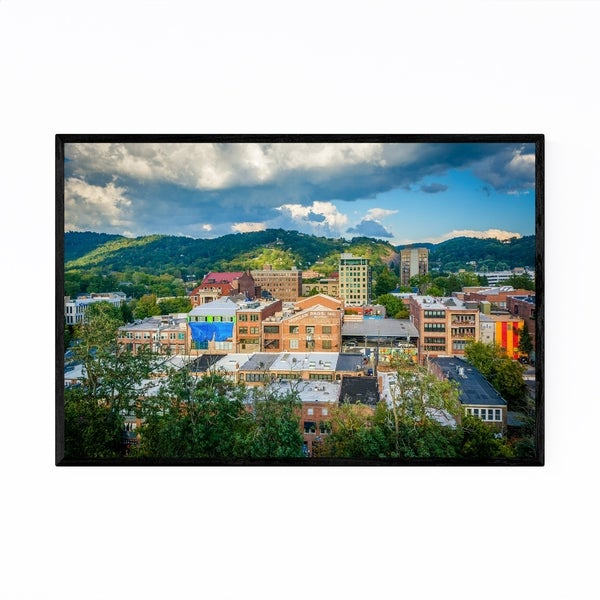 Noir Gallery Asheville North Carolina Skyline Framed Art Print