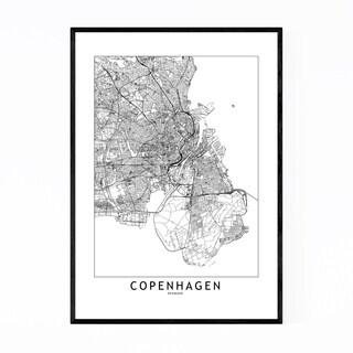 Noir Gallery Copenhagen Black & White Map Framed Art Print